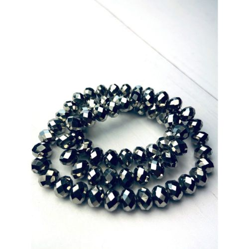 """Dark Silver Full Coated Essential Crystal Glass Faceted Rondelle Beads 6x8mm 15""""Strand"""