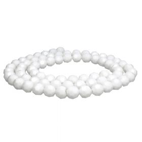 CrystaLove™ crystals / glass / faceted round / 4mm / white / lustered / 100pcs