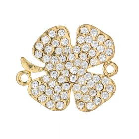 Glamm™ / clover / connector / 70 zircons / 24x21x2mm / gold plated / hole 1.5mm / 1pcs