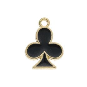 SweetCharm ™ Club / charm pendant / 14x11x1.5mm / gold plated / black / 2pcs
