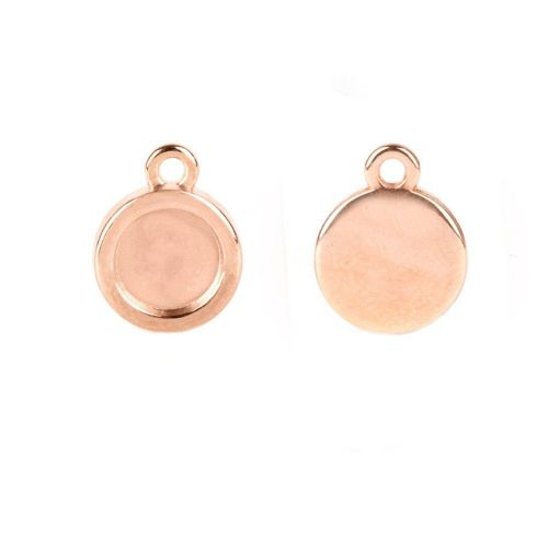 Rose Gold Plated Zamak Charm Flat 7mm Setting 10mm Pk2