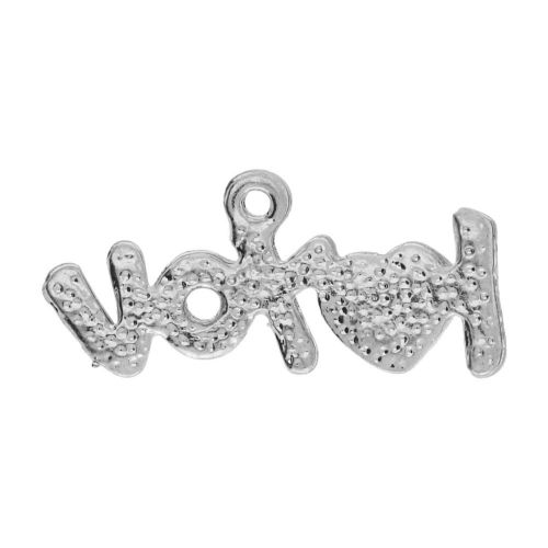 Glamm ™ I love you / charm pendant / with zircons / 12x25x2.5mm  / silver plated / 1pc