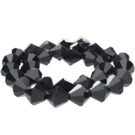 CrystaLove™ crystals / glass / bicone / 3mm / black / lustered / 148pcs