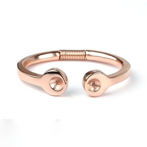 Rose Gold Plated Zamak Coil Bangle Holds SS39 Chaton 65mm Pk1