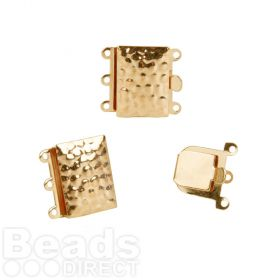 Gold Plated 3 Strand Box Clasp Dot Design 13x18mm Pk1