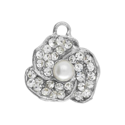 Glamm ™ Flower / charm pendant / with zircons & pearl / 19x18x6.5mm / silver plated / 1pcs