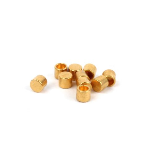 Gold Plated Brass Small Cord Ends 2x2.2mm (Hole 1.3mm) Pk10
