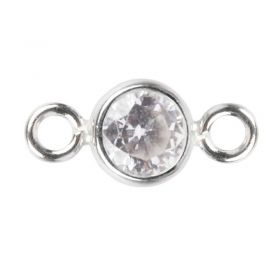 Sterling Silver 925 Clear CZ April Birthstone Connector 4mm Pk1