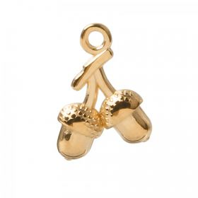 Gold Plated Zamak Double Acorn Charm 12x16mm Pk1