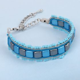 Blue and Grey Soutache Bracelet KIt - Makes x1