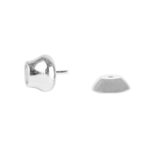 Silver Plated End and Cap for Half Drilled Bead 4mm Pk2