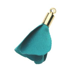 Satin flower charm / 23mm / gold plated / teal / 4pcs