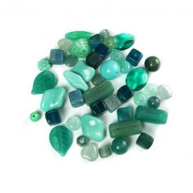Preciosa Czech Glass Bead Mix Sea Green Assorted Sizes 50g