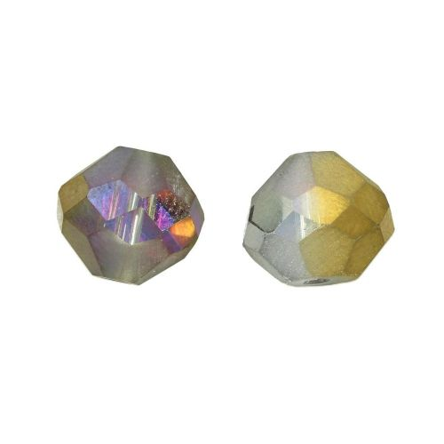 CrystaLove ™ / frosted / glass crystals / diamond / 8mm / antique gold / opalescent / 4pcs