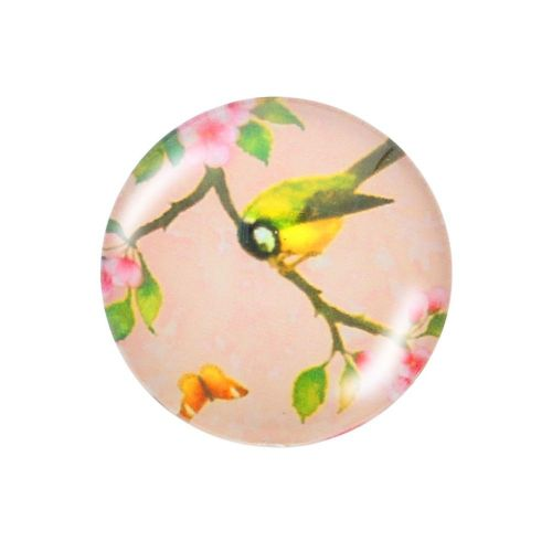 Glass cabochon with graphics K25 PT1209 / pink / 25mm / 2pcs