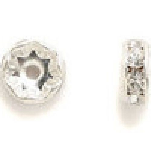 77508 Swarovski Silver Plated Rondelle 8mm Crystal Clear Pk6