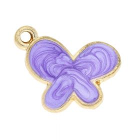 SweetCharm ™ Butterfly / pendant charms / 18x15x3mm  / gold plated / purple / 2pcs