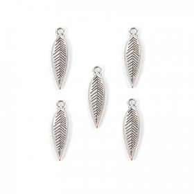 Antique Silver Zamak Feather/Leaf Charms 17x6mm Pk5