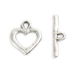 Antique Silver Zamak Heart Toggle Clasp 23x33mm Pk1