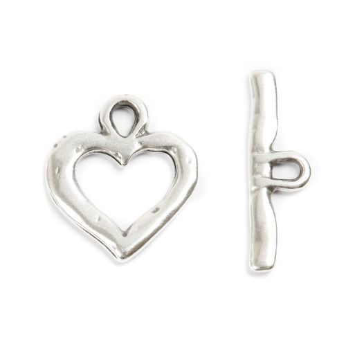 X Antique Silver Zamak Heart Toggle Clasp 23x33mm Pk1