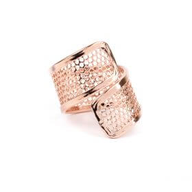 Rose Gold Plated Sieve Seed Bead Twisted Ring Base Pk1
