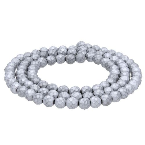 Hematite / matte finish / faceted round / 10mm / silver / 40pcs