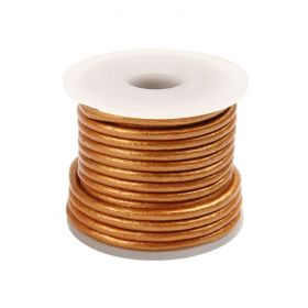 Bronze Round Leather 2mm Cord 5metre Reel