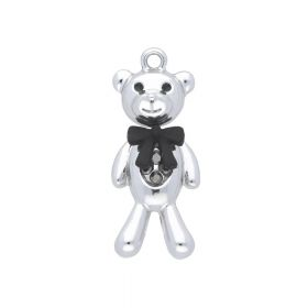 SweetCharm ™ Teddy with a bow / pendant / 33x27x8.5mm / silver / 1pcs