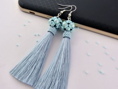 How to make a beaded ball - Fashionable earrings with tassels