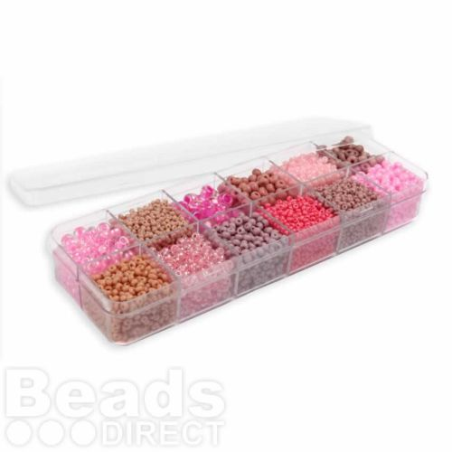 Preciosa Pink Paradise Seed Bead Selection 12x11g Box Set