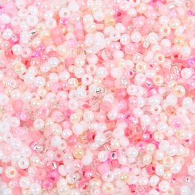 Preciosa Round Seed Bead Mix Size 10 Pink/White 50g