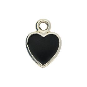 SweetCharm™ heart / pendant / 14x11x0.5mm / KC gold Black / 2pcs