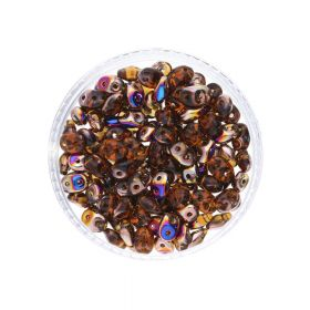 SuperDuo ™ / glass beads / 2.5x5mm / Sliperit / Smoky Topaz / 10g / ~140pcs