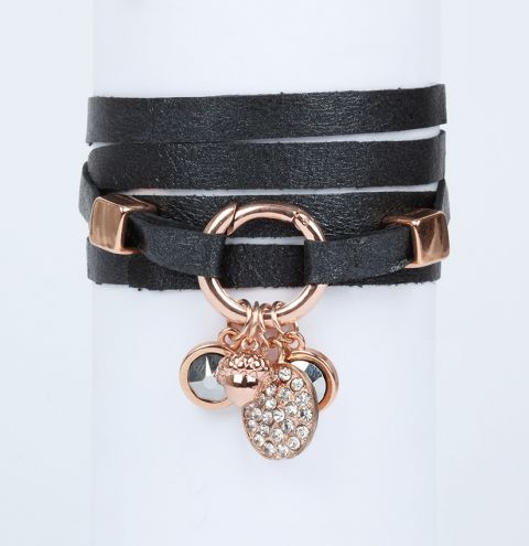 Rose Leather Wrap Bracelet