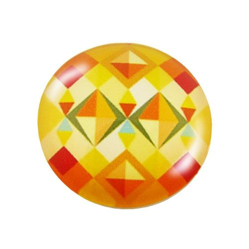 Glass cabochon with graphics K25 PT1040 / yellow / 25mm / 2pcs