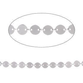 Rhodium Plated Brass Connected Disk Chain 8mm 1metre