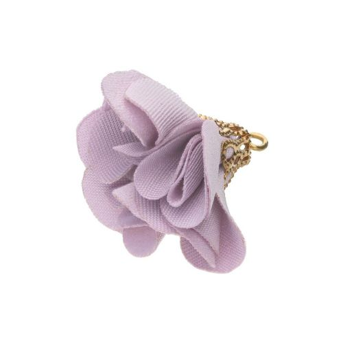 Satin Flower / with an openwork tip / 26mm / Gold Plated / heather / 2 pcs