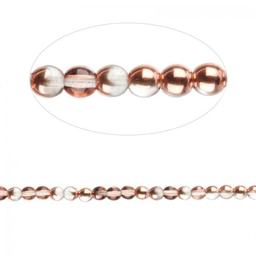 Preciosa Pressed Glass Round Beads Clear Copper 4mm Pk30