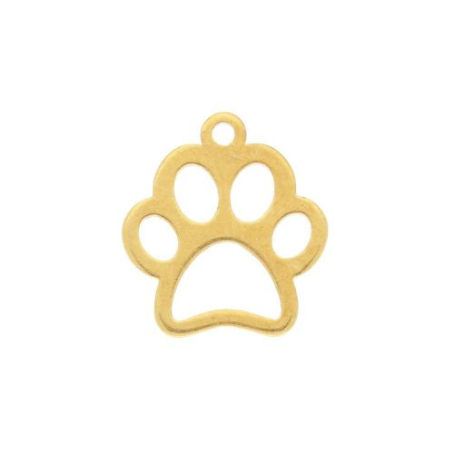 Dog's paw / charm / surgical steel / 11x10mm / gold / 2pcs