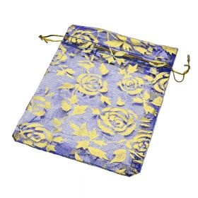 Organza bag / 10x12cm / navy with gold roses / 5pcs