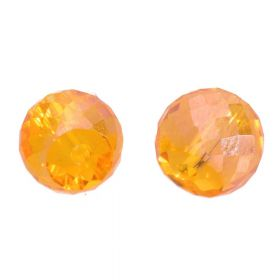 CrystaLove™ crystals / glass / faceted round / 6x8mm / amber / transparent / iridescent / 6pcs