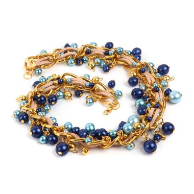 Golden Blue Cluster Bracelet