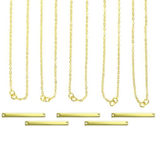 ImpressArt Personal Impressions Gold Plated Rectangle Connector Necklaces Pk5