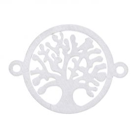 Tree / connector / surgical steel / 19x14x1mm / silver / 1pcs