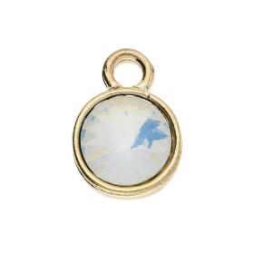 Glamm ™ Spotlight  / charm pendant / with zircons / 14x10x5mm / gold plated / opal / 2pcs