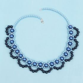Blue Pearl Collar Necklace made with Swarovski TAMB Kit - Makes x1