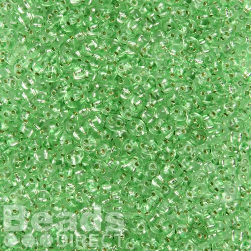 Preciosa Twin Hole Seed Beads Silver Lined Green 2.5x5mm 10g