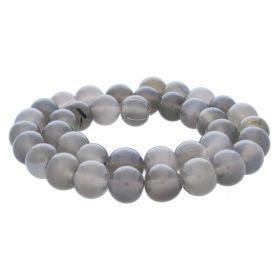 Agate / round / 10mm / grey / 38pcs