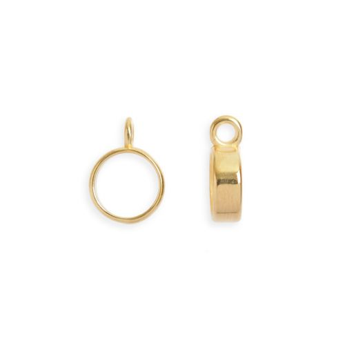 Gold Plated Zamak Charm Carrier with Loop 12mm Pk2