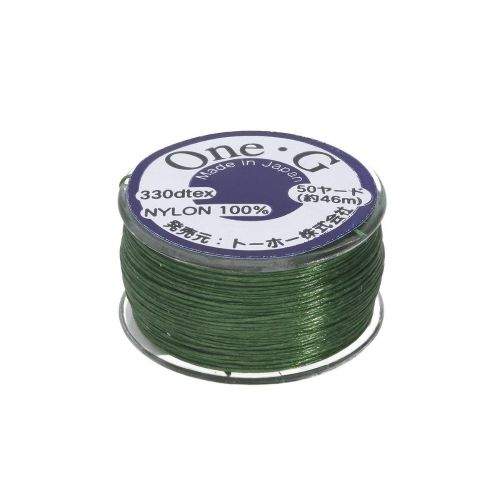 TOHO One-G ™ / nylon thread for beads / Green / thickness 0.35mm / 46m